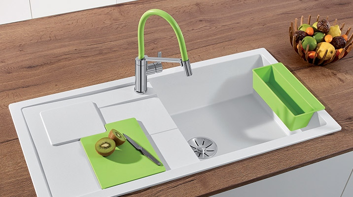 Give your kitchen a youthful twist with the colorful BLANCO SITY + VIU sinks!