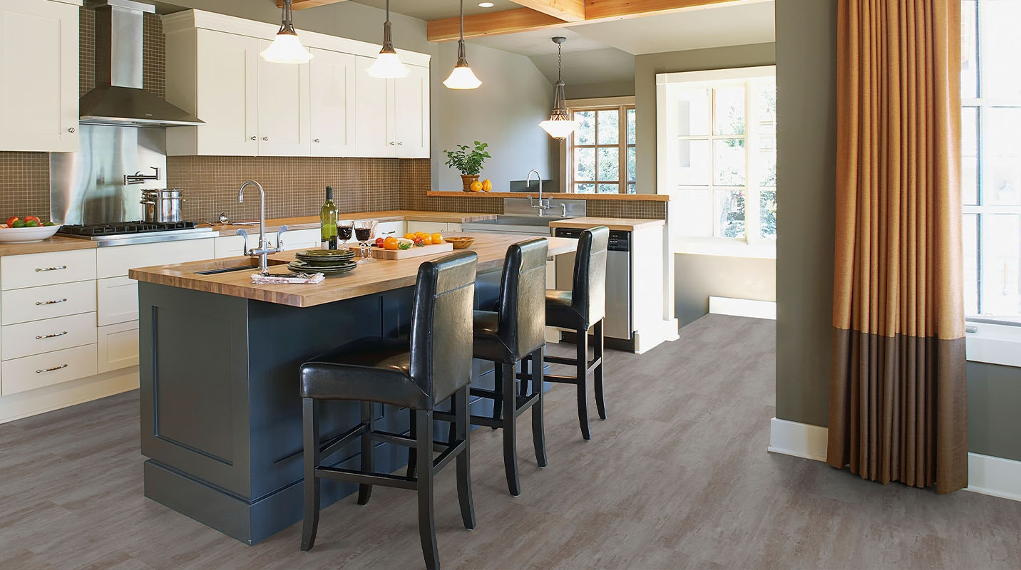 One hundred percent recyclable Tarkett LVT flooring for an environmentally conscious kitchen!